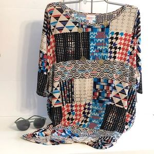 LuLaRoe L Irma Multi-Colored and Patterned Tunic